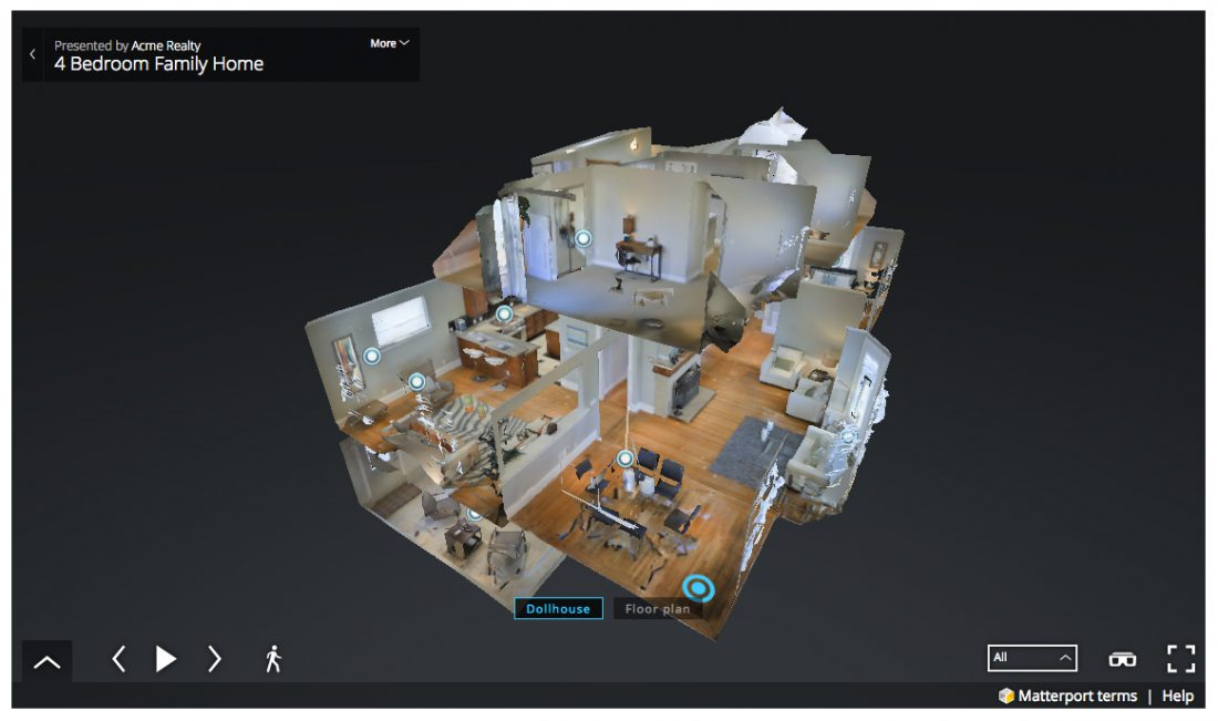 black 3D matterport image