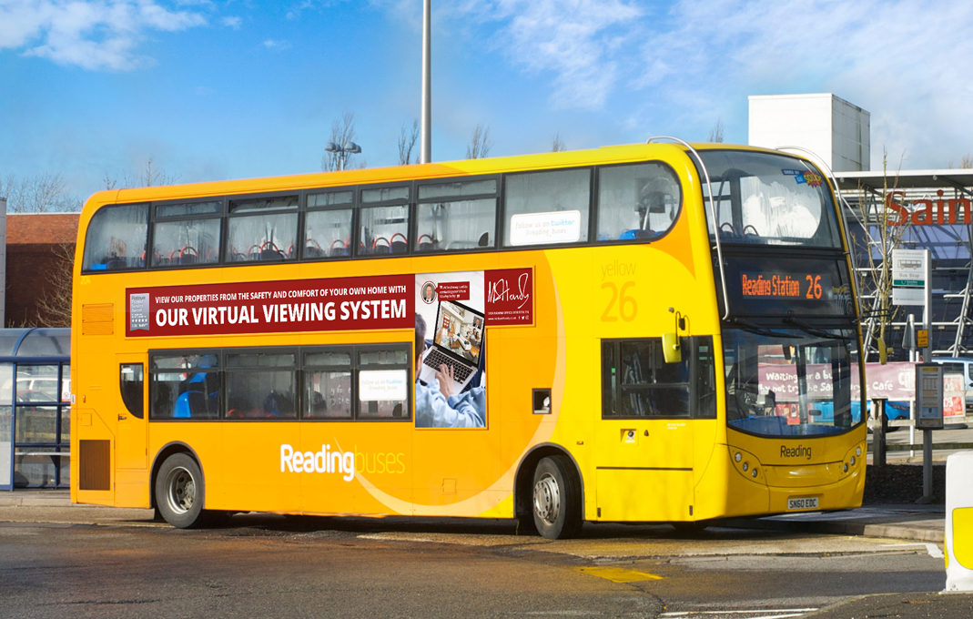 MH estate agency design bus advert