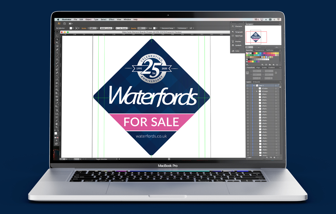 Waterfords estate agents 25 years celebration logo